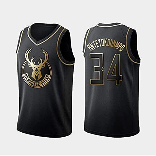 TGSCX NBA Jersey, Milwaukee Bucks # 34 Antetokounmpo Mujeres para Hombres Jerseys Retro Bordado Fitness Tank Top Sports Top,Negro,XL