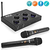 Pyle Portable Home Theater Karaoke Microphone Mixer System Complete Set w/Dual UHF Wireless Mic, HDMI & AUX, Audio Play via Device Speaker & Works with TV, Receiver, Amplifier, Speaker - PDWMKHRD22WM