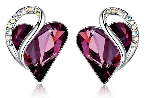 Leafael Infinity Pendientes de botón Amor corazon con cristal de piedra natal de color rosa oscuro de amatista para febrero, regalos de mujer, tono plateado