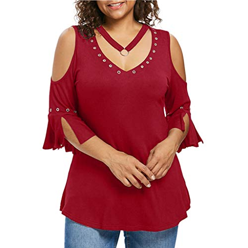 VEMOW Tops Mujer Tallas Grandes Moda para Mujer Camiseta de Manga Corta Chaleco con Cuello en v Remache Blusa(Rojo,4XL)