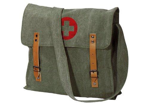 Nato Canvas Medic Red Cross Messenger Bag, Sage