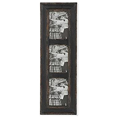 K&K Interiors 13084C 3 Opening Weathered Wood Vertical Picture Frame, Black