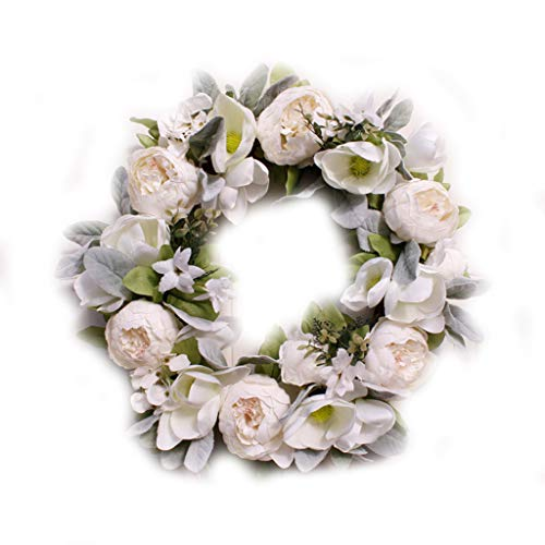 MENGSHI 18in Artificial Peony Magnolia Wreath,Front Door Handcrafted Wreath, Beautiful Fake Peony Magnolia Garland for Home Wall Wedding Decor