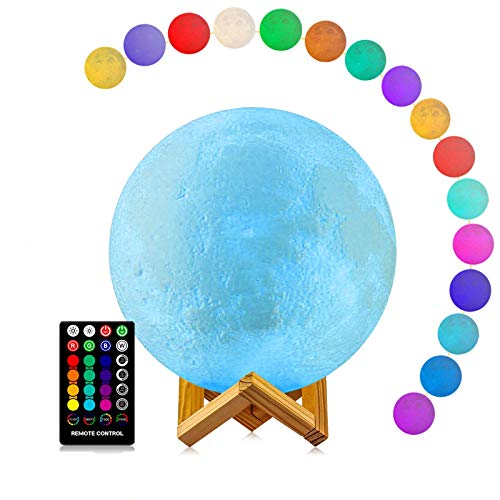 Moon Lamp, LOGROTATE Moon Light Lamps with Time Setting and Stand 3D Print LED 16 Colors, Hung Up Decorative Night Lights for Baby Kids Friends Lover Birthday Gifts(Diameter 9.6 inch)