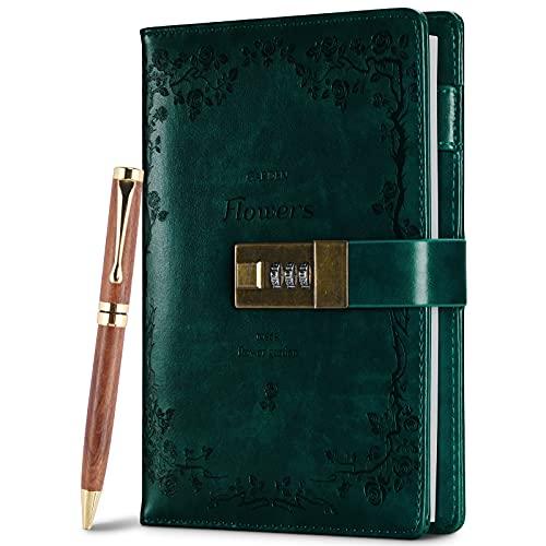 Diario con blocco in pelle con penna, diario vintage, ricaricabile, a combinazione con blocco, agenda personale, regalo per donne, ragazze, ragazzi e adulti (verde)