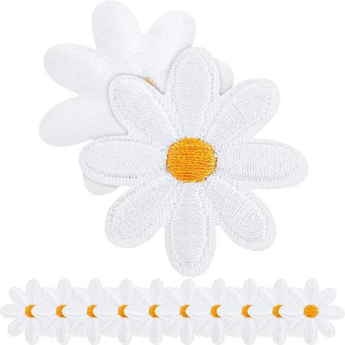 Parche de Flores de Margarita Parches de Ropa de Planchar Parches Apliques de Flores Bordado Decorativo para Decoración de Bricolaje Camiseta Mochila Zapatos Bolsos, 1,38 Pulgadas (40 Piezas)