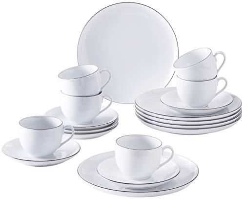 Kahla 050466O69896C Black Urban Line Geschirrset Porzellan 6 Personen Kaffeeservice Teeservice Frühstück Tassen Teller 18-teilig weiß schwarz Kaffeeset