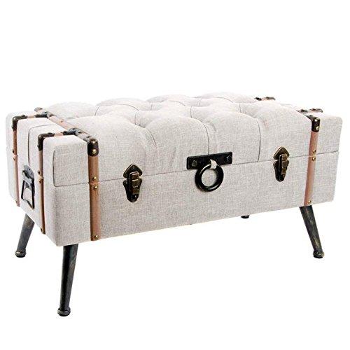 Indhouse Cofre para pie de cama, madera y lino