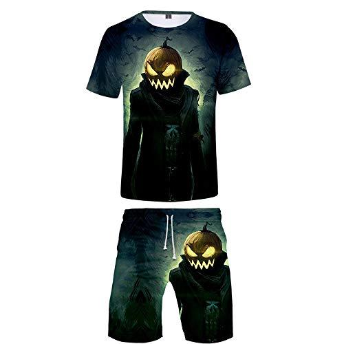 INSTO T-Shirt Kurze Hose 2 Stücke Einstellen Kreativ Halloween Gedruckt Fitness Tragen Zum Jungs Und Herren Tragen Gemütlich / A6 / S