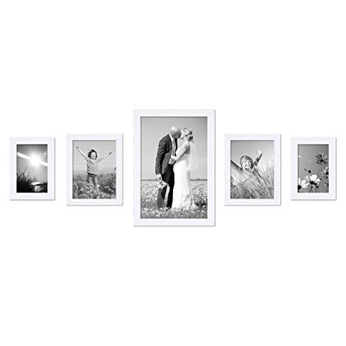 Set de 5 Cadres Photo 10x15, 15x20 et 20x30 cm Blanc Moderne Bois Massif avec vitre et Accessoires/Cadre Photo