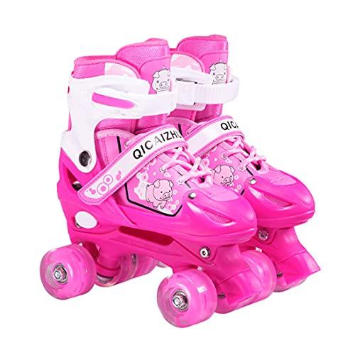 LED Rollschuhe für Kinder und Jugendliche größenverstellbare , ideal für Anfänger, komfortable Roller-Skates für Mädchen und Jungen (rosa, M(33-37))