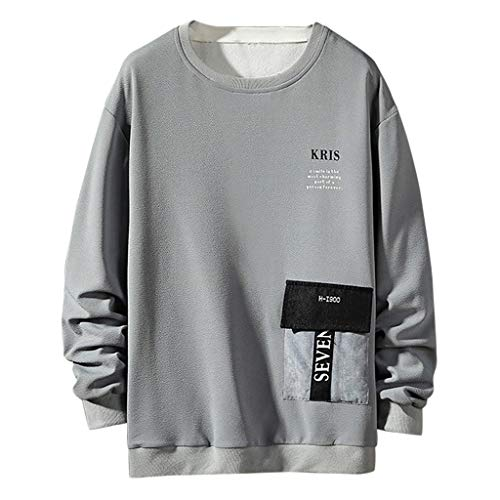 Mens Casual Fashion Patchwork O-Neck Long Sleeves Pullover Sweaters Top Blouse Gray