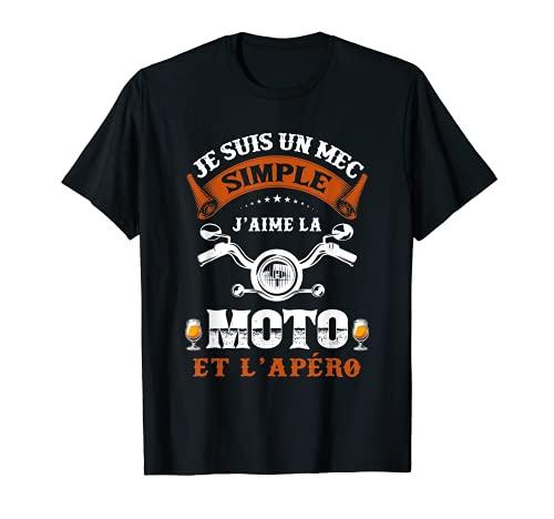 Homme Pour Fans de La Moto et l'Apéro Motard Humour Alcool Drôle T-Shirt