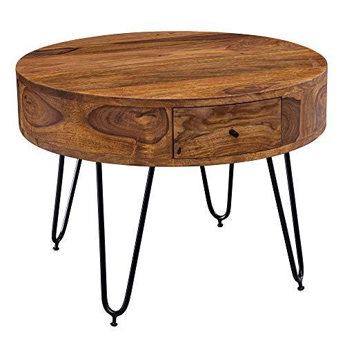 FineBuy Couchtisch Sheesham Massivholz/Metall 60x44,5x60 cm Tisch Wohnzimmer | Design Beistelltisch mit Schubladen | Kleiner Wohnzimmertisch Rund Braun