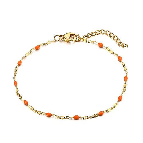 BOBIJOO Jewelry - Armband Minimalistische Dunne Ketting Vrouw Staal Goud Gouden Geplateerde Druppels E-Kleur Naar Keuze