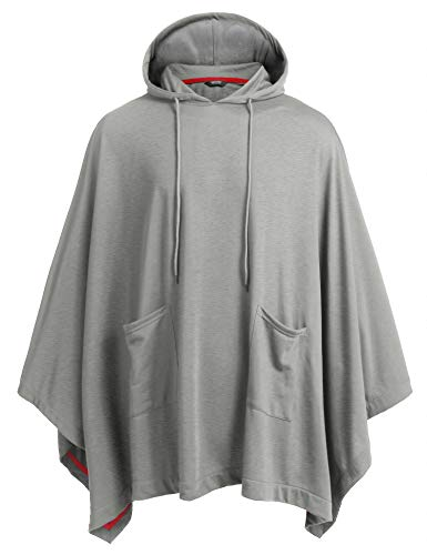 Coofandy Unisex Casual Hooded Cloak Poncho Cape Coat with Pocket,X-Large,Grey
