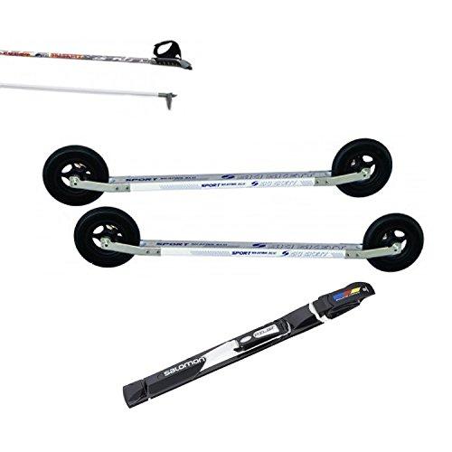 Ski Skett Série Ski Roue, Ski Roue Off-Road, Fixations Salomon Pilot SK, bâtons pour Ski Roue Long. 165 cm.