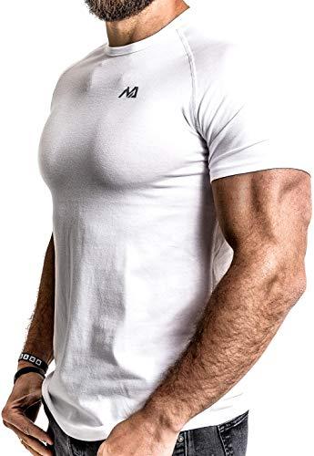 Herren Fitness T-Shirt modal - Männer Kurzarm Shirt für Gym & Training - Passform Slim-Fit, lang mit Rundhals, Weiß, XL