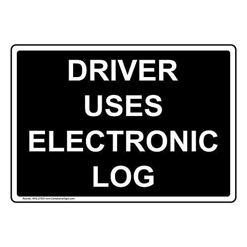 Driver Uses Electronic Log Label Decal, 5x3.5 inch 4-Pack Vinyl for Transportation by ComplianceSigns
