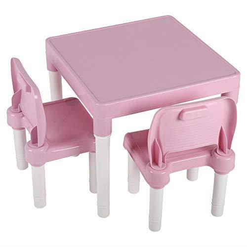 Wakects Juego de mesa y sillas infantiles, mesa y sillas con 2 sillas, mesa de plástico para niños y guarderías (rosa)