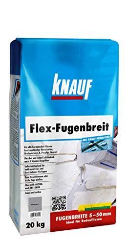 Knauf 234056 anthrazit 20 kg Flex Spezial-Fugenmörtel, schlämm-und gießfähig, für Fugenbreiten von 5 – 50 mm, schmutzabweisend, schnell begehbar, für Böden im Innen Außen-Bereich, 20-kg