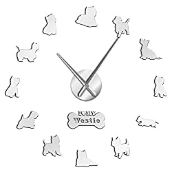 N /A Wall Clock West Highland Terrier Westie Dog Breed Long Clock Hand 3D DIY Wall Clock Puppy Animal Self Adhesive Big Acrylic Time Clock Watch Beautiful and Durable Easy to Use