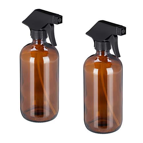 Relaxdays Sprühflasche Glas, 2X 500 ml, Set, nachfüllbar, Nebel & Strahl, Haarpflege, Reinigung, Zerstäuber, leer, braun, 10034196