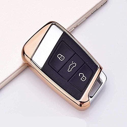 F-MINGNIAN-SPRING Funda para llave de coche, suave TPU para llave de coche, para Volkswagen VW 2016 2017 Passat B8 Skoda Superb A7 oro (color oro)