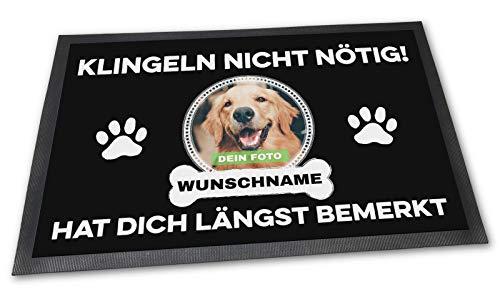 PfotenSchild Fußmatte mit eigenem Hund - Klingeln Nicht nötig - Personalisiert mit WUNSCHFOTO und Wunschname Hundebesitzer - 60 x 40 cm