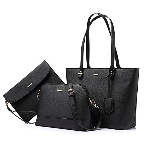 Handbags for Women Tote Bag Shoulder Bags Fashion Satchel Top Handle Structured Purse Set Designer Purses 3PCS PU Stand Gift Classical Black
