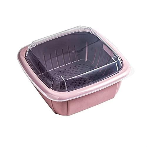 3 en 1 Caja de desage de doble capa con tapa para el hogar Multifuncin Refrigerador Crisper Almacenamiento de vegetales (Color : 5AC1104075-PK)