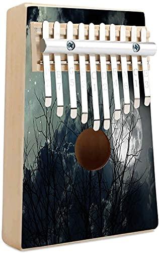 Nachtelijke hemel Kalimba 10 toetsen Duim Piano Nachtelijke Gedroogde Takken Boom in Woestijn Volle Maan Spot Sterren Moggy Beeld Draagbaar Mbira Vinger Piano Cadeau voor Kinderen Volwassen Beginners Professioneel Zwart en Wit