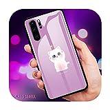 Lindo gato de dibujos animados teléfono caso de vidrio para Huawei P30 Lite 20 Por P9 10 Honor 8 X 9 10 NOVA 5 Cover-a6-For Huawei P30