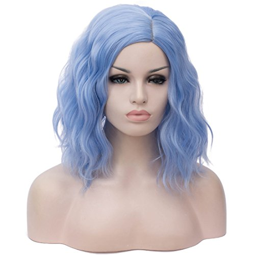 Cying Lin Short Bob Wavy Curly Wig Water Blue Wig For Women Cosplay Halloween Wigs Heat Resistant Bob Party Wig Include Wig Cap (Light Blue)