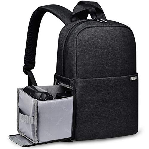 Zaino Professionale per Fotocamera, Borsa per Fotocamera Riflettente CADeN con Scomparto per Laptop da 14' Compatibile con Sony Canon Nikon DSLR Sony Canon Nikon DSLR (nero)