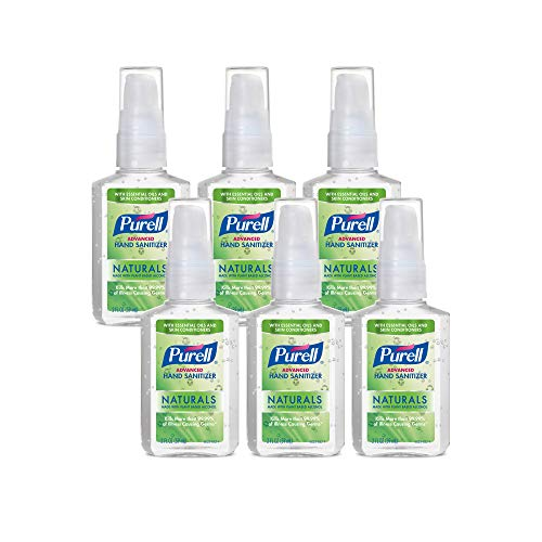 PURELL Advanced Hand Sanitizer Naturals with Plant Based Alcohol, Citrus scent, 2 Fl Oz Travel Size Pump Bottle (Pack of 6)- 9623-04-EC