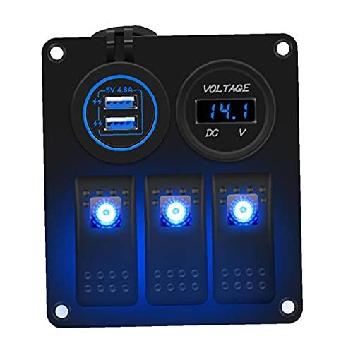 fregthf Rocker Switch Panel 12V 24V 3 Gang Double LED USB Prise de Courant pour Les véhicules Marins Remorque Voiture Yachts Camion Bleu
