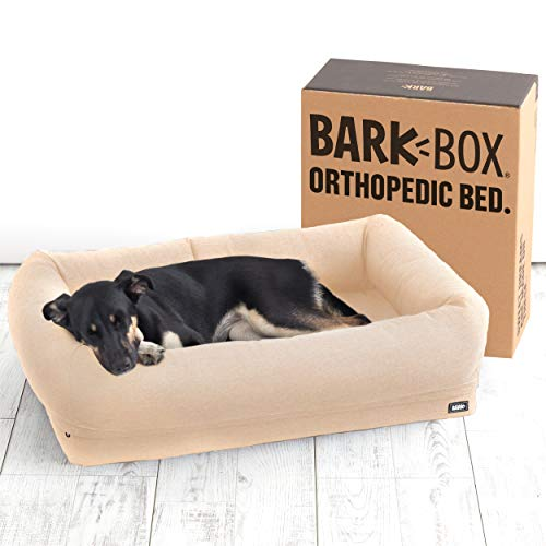 Barkbox 2-in-1 Memory Foam Dog Cuddler Bed | Plush Orthopedic Joint Relief Crate Lounger or Donut Pillow Bed, Machine Washable + Removable Cover | Waterproof Lining | Includes Toy (Medium, Sand) Categories