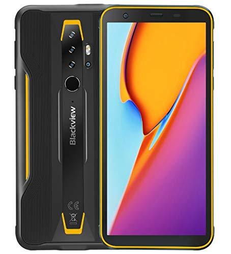 Telephone Incassable Blackview BV6300 Pro Android 10, 11,6 mm Corps Mince, Helio P70 6 Go + 128 Go, Quadruple Caméra 16MP HDR, Charge sans Fil, Robuste Smartphone IP68, 5,7'' HD +, NFC GPS Jaune