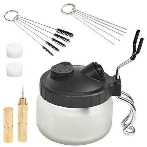 YANSHON 4 Airbrush-Reinigungsset, mit 5 Reinigungsbürsten, 2 Reinigungsbehälter und 5 Edelstahl Reinigungsnadeln, 2 Schwamm, Airbrush-Reinigungs Zubehör-Set