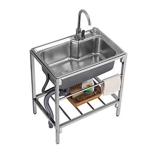 Einzelschüssel Edelstahlspüle Küche Esszimmer Spüle, vertieft 220mm Spüle/Bodenschalldämpfer Kissen, um Wassereinschlaggeräusche zu beseitigen, Küche Esszimmer Regal