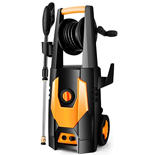 mrliance 3500PSI Electric Pressure Washer 2.0GPM Power Washer 1800W High Pressure Washer Cleaner Machine with 4 Interchangeable Nozzle & Hose Reel