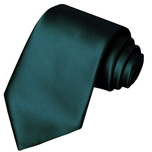 KissTies Hunter Green Tie Satin Necktie Solid Wedding Ties + Gift Box