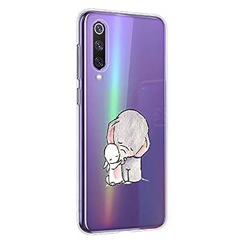 Oihxse Compatible pour Xiaomi Redmi Note 8T Coque [Mignon Transparente Éléphant Lapin Motif Séries] Housse TPU Souple Protection Étui Ultra Mince Anti Choc Animal Case (A2)