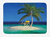 Amxxy 小さな熱帯の島のヤシの木の下の海辺の椅子ソフトクッション滑り止め玄関マットバスラグ、クリエイティブなデザイン素敵な家の装飾屋内と屋外の正面玄関マットとバスルームマット15.7x23.6in