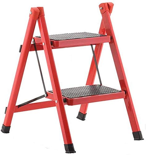 TABURETE Taburete Escalera Dos Escalera de Mano Taburete de Escalera de Hogar Garaje Metal Doblez Pedal Ancho Firma Antideslizante Plataforma Terraza Ligero /  Rojo / 58×51×40cm