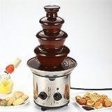 Fuente de Chocolate de Gran tamaño, Fuente eléctrica de 4 Niveles de Fuente de Chocolate, Fuente de Fondue de Chocolate de Acero Inoxidable con Base para tarros Calientes para Bodas