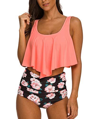 Coskaka Women's High Neck Two Piece Bathing Suits Top Ruffled High Waist Swimsuit Tankini Bikini Sets Pink XXXL
