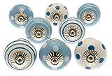 knoa, maniglie per cassetti dipinte a mano, blu e bianco, confezione da 8...