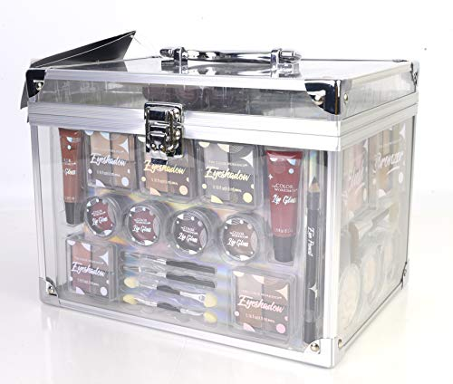 Maletín de Maquillaje Colour Delights Beauty Case - The Color Workshop - Un Kit de Maquillaje Profesional Completo en un Mega Maletín Transparente con Bordes Exteriores y Asa Metalizados
